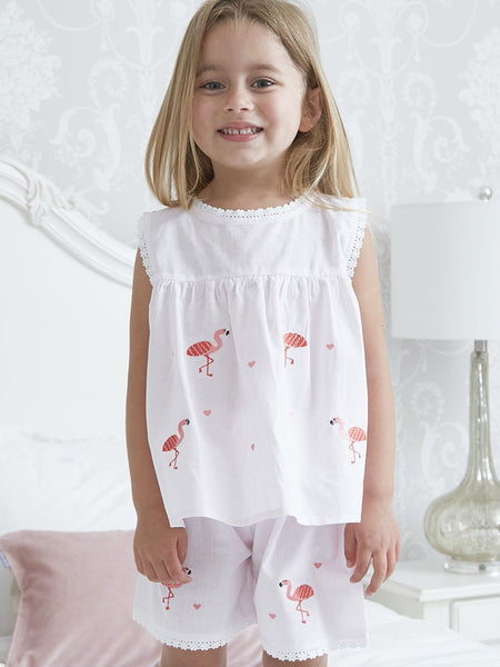 Pink Flamingo - Short Cotton Girls Pyjamas