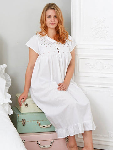Embroidered Cotton Ladies Nightdress