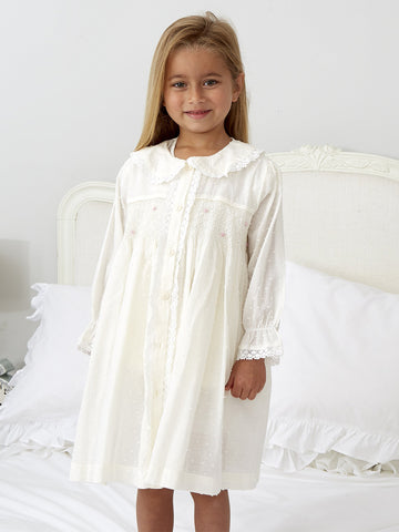 New Ivory Smocked Dressing Gown