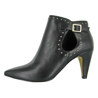 "A trendy leather bootie. Open oval design at ankle, Nail head detailing w/ buckle, Padded Insole, 3"" heel"