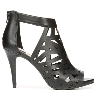 Huddle by Fergalicious is a faux leather upper dress sandal with: Peep toe, Back zip closure, Caged silhouette, Smooth lining, Cushion insole for all day wear