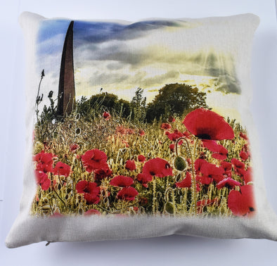 IBCC Spire Cushion with poppy motif