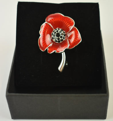 Brooch Poppy Red