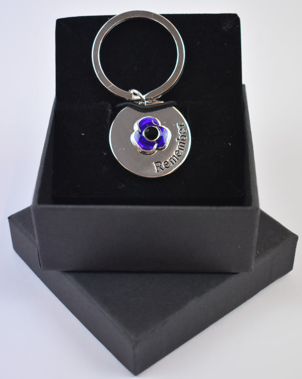 Purple Poppy Dog Tag/Key Ring