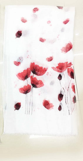 Scarf Red Poppy Watercolour