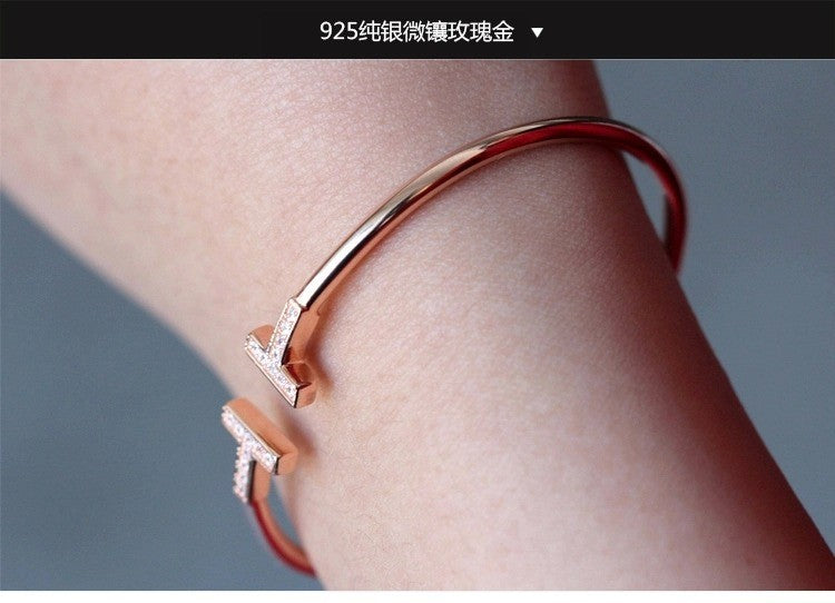 Women Bangle Copper Acrylic Trendy Bracelet Rose Gold Bangles Party Je