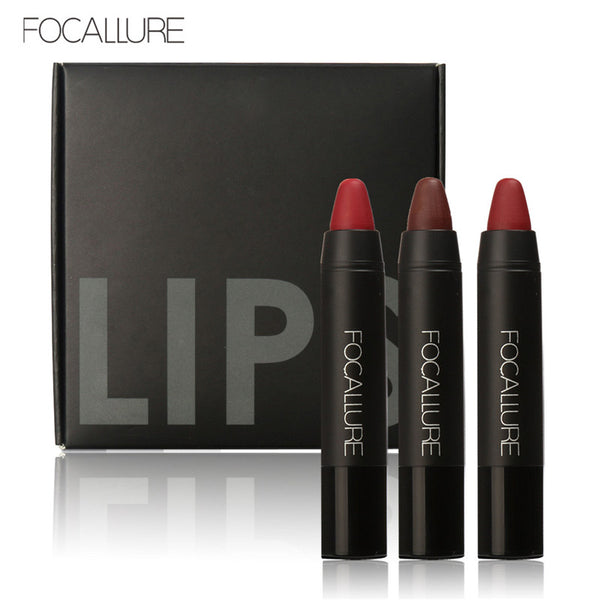 FOCALLURE 3pc Set Pro Matte Waterproof Lipstick with Long Lasting Effect
