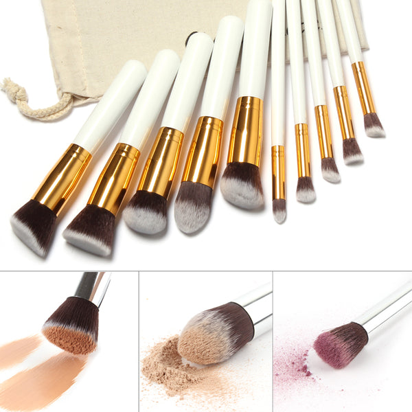 10 Pcs Professional Makeup Brushes Set with Free Draw String Makeup Bag
