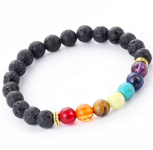 Multi-color Design Bracelet with Lava stones and 7 Chakra Healing Balance Beads