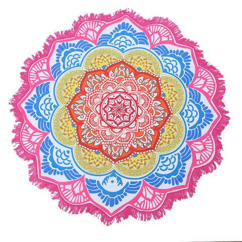 Brightly Coloured Lotus Mandala Beach Towel / Tablecloth / Blanket