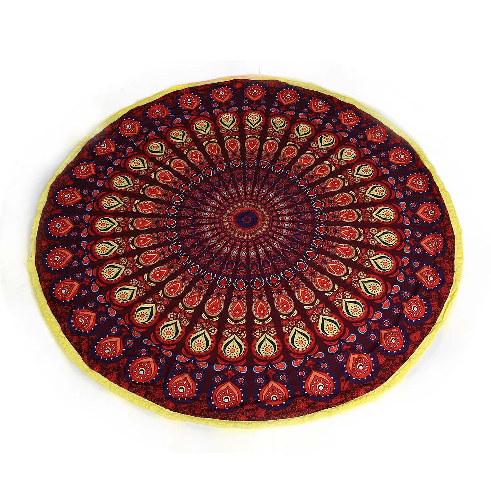 Round Mandala Tapestry Beach Towel / Throw / Yoga Mat with Tassel Fringing