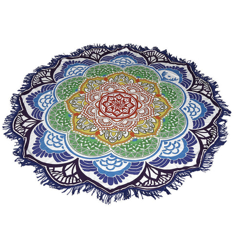 Chakra Coloured Round Beach Towel / Blanket / Table Cloth
