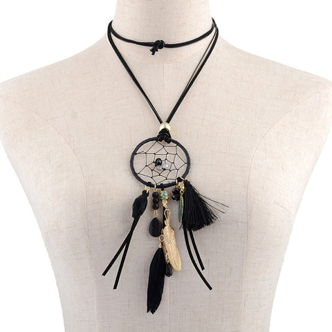 Dreamcatcher Long Necklace Fringed with Feathers, Tassels and Stones. Available in a Variety of Colours