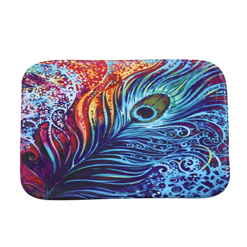 Stylised Peacock Feather Non-Slip Mat