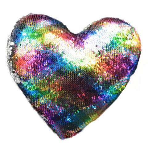 Heart Shaped Double Color Sequins Pillow Cover