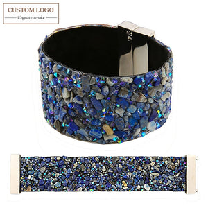 AZIZ BEKKAOUI Jewelry Wide Bangle Magnetic Clasp High-grade Blue Crystal Stone Cuff Bracelets