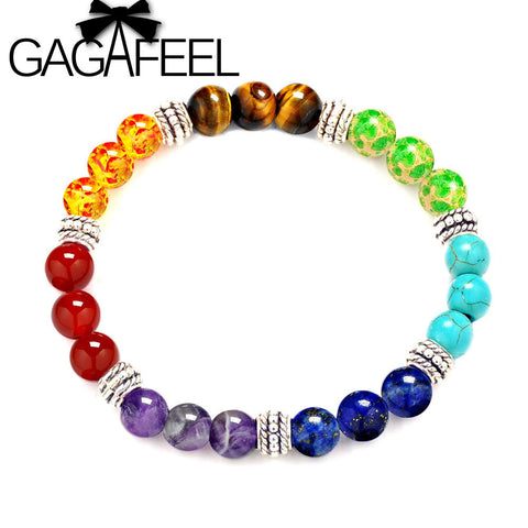 Multi-colored 8MM Beads Bracelet For Reiki / Yoga. Designed by GAGAFEEL.