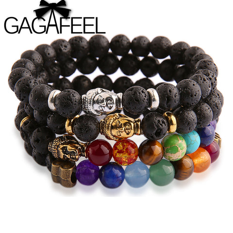 Buddha Bead Bracelet with Lava Stones. Designed by GAGAFEEL.