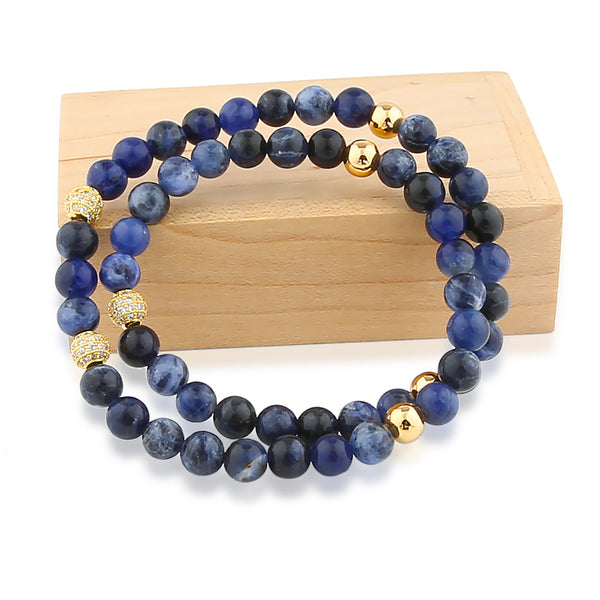 Blue Stone Two Circles Bracelet. Designed by GAGAFEEL.