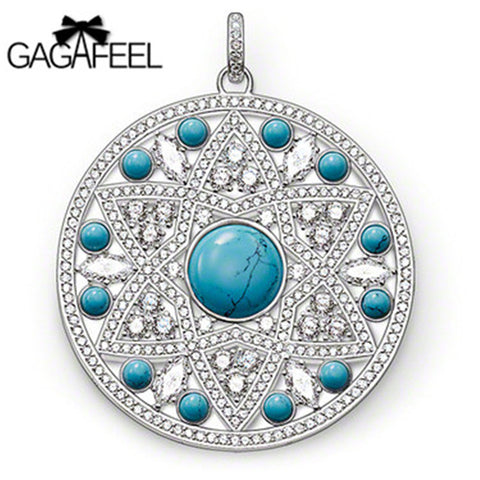 Natural Blue Stone Beads on a  Silver Color Pendant Disk. Designed by GAGAFEEL.