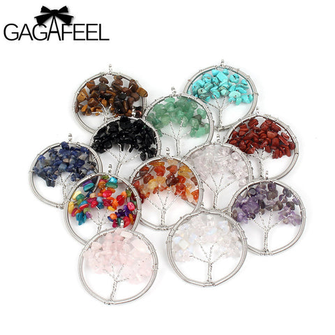 Tree Of Life Crystal Natural Stone Rainbow Necklace. Available in Many Colours. Designed by GAGAFEEL.