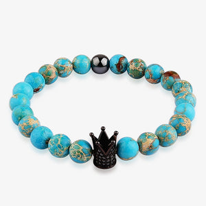 Unique Natural Stone Blue Bead Bracelet With Crown Charm. Crown Charm Available in a Variety of Colours