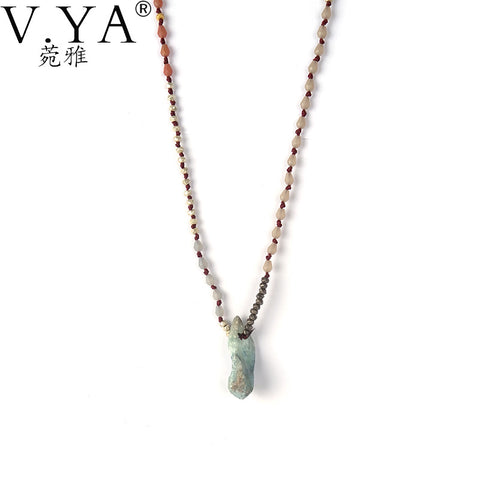 Long Joyeria Seed Bead Necklace With Natural Stone Pendant. Various Designs Available by Bijoux