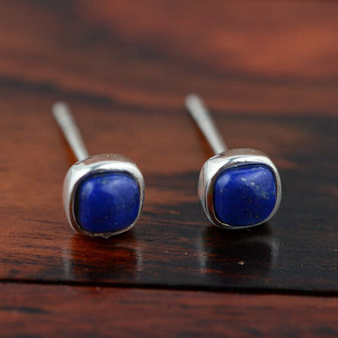 Lapis lazuli Thai Silver Stud earrings. 925 Sterling Silver with Natural Stone.