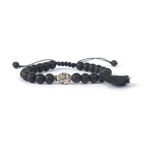 Black Lava Braclet with Buddha Head and Tassel