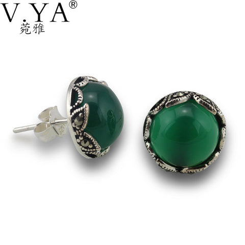 100% Real 925 Sterling Silver Earrings with High Quality Vintage Thai Silver Green Stone.