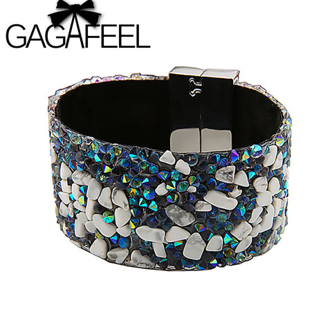 Colorful Stone Handmade Bohemia Wide Bracelet by GAGAFEEL
