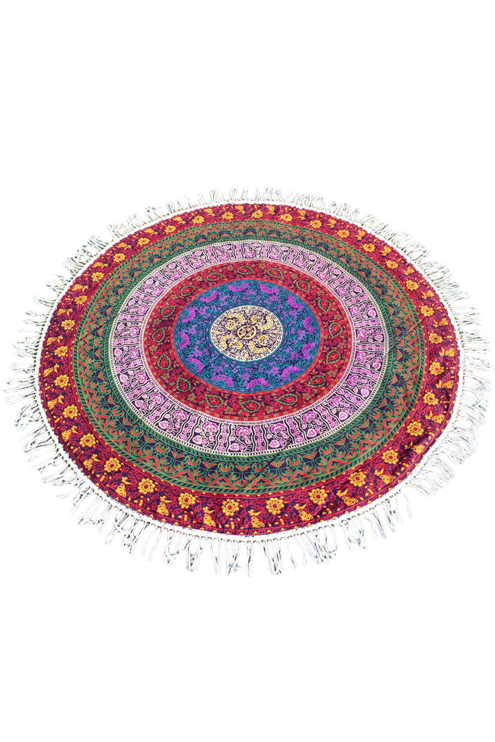 Cotton Mandala Round Tapestry Yoga Mat / Beach Towel with Tassel Fringing