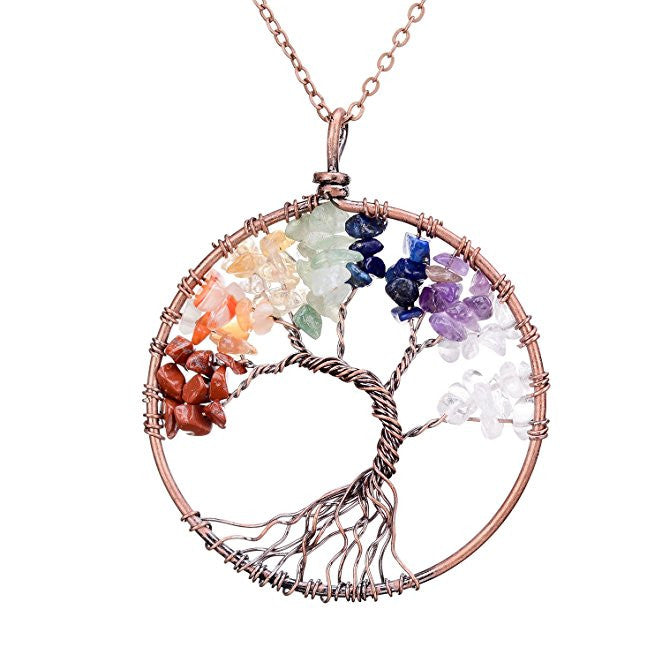 Tree of Life Chakra Pendant with Mixed Stones. This Pendant Includes Amethyst, Clear Quartz and Other Stones.