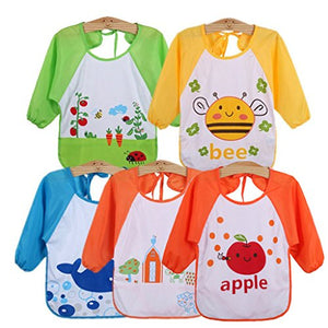Unisex Baby Waterproof Sleeved Bib, Set of 5
