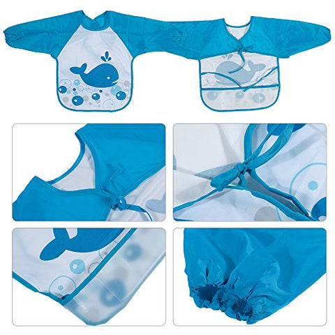 Set of 6 Unisex Baby Waterproof Long Sleeved Bibs for 6m+