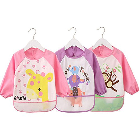 Wipe Clean Waterproof Sleeved Bib Eat and Play Smock