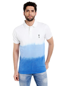Blue and white dyed polo tshirt, men's polo tshirt