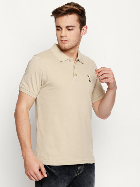 Beige Solid Polo