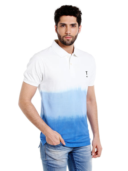 White & Blue Ombre Dyed Polo