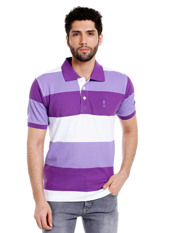 Purple and white striped cotton polo t-shirt for men
