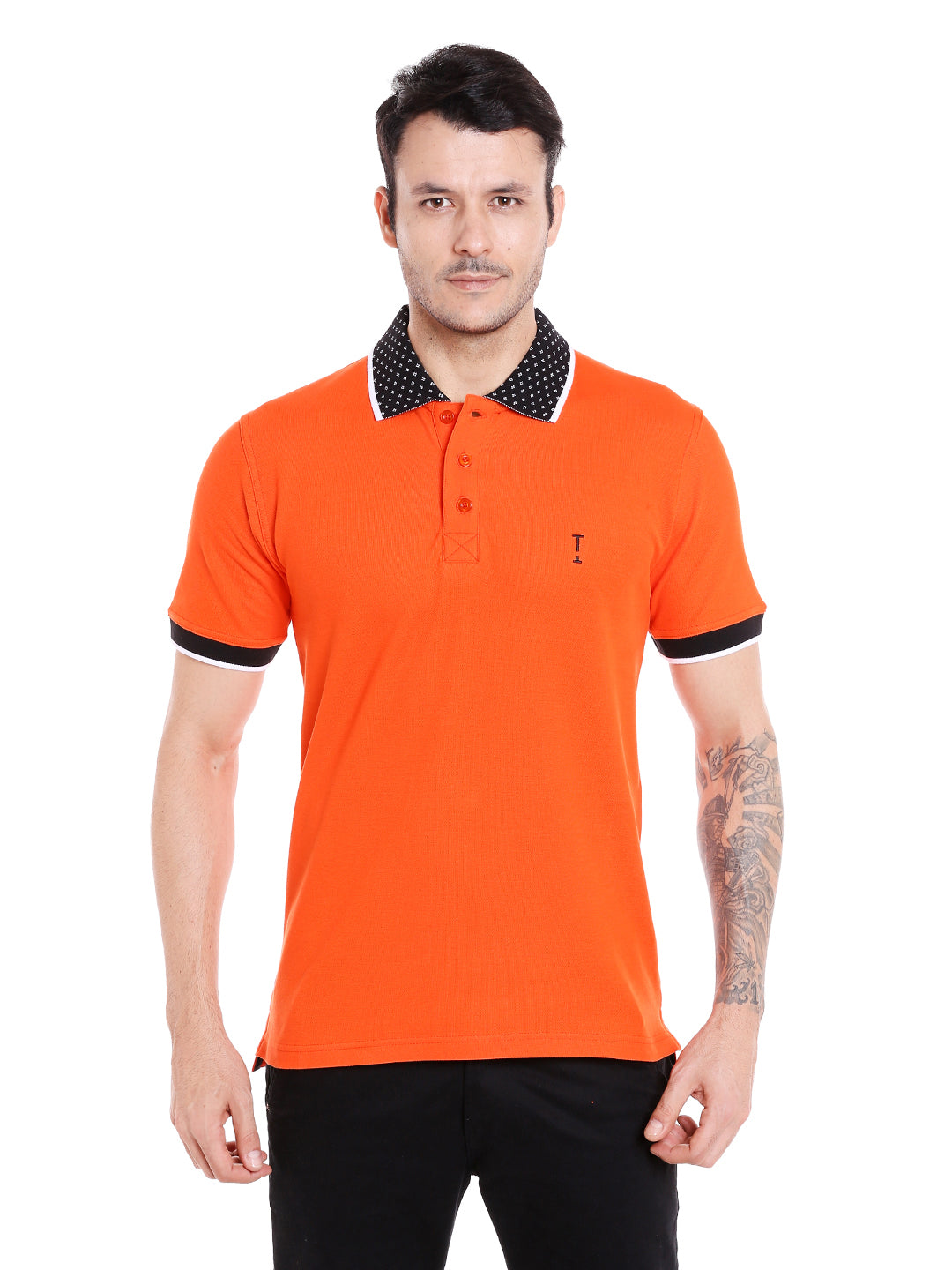 Flame orange polo t-shirt with black jacquard collar