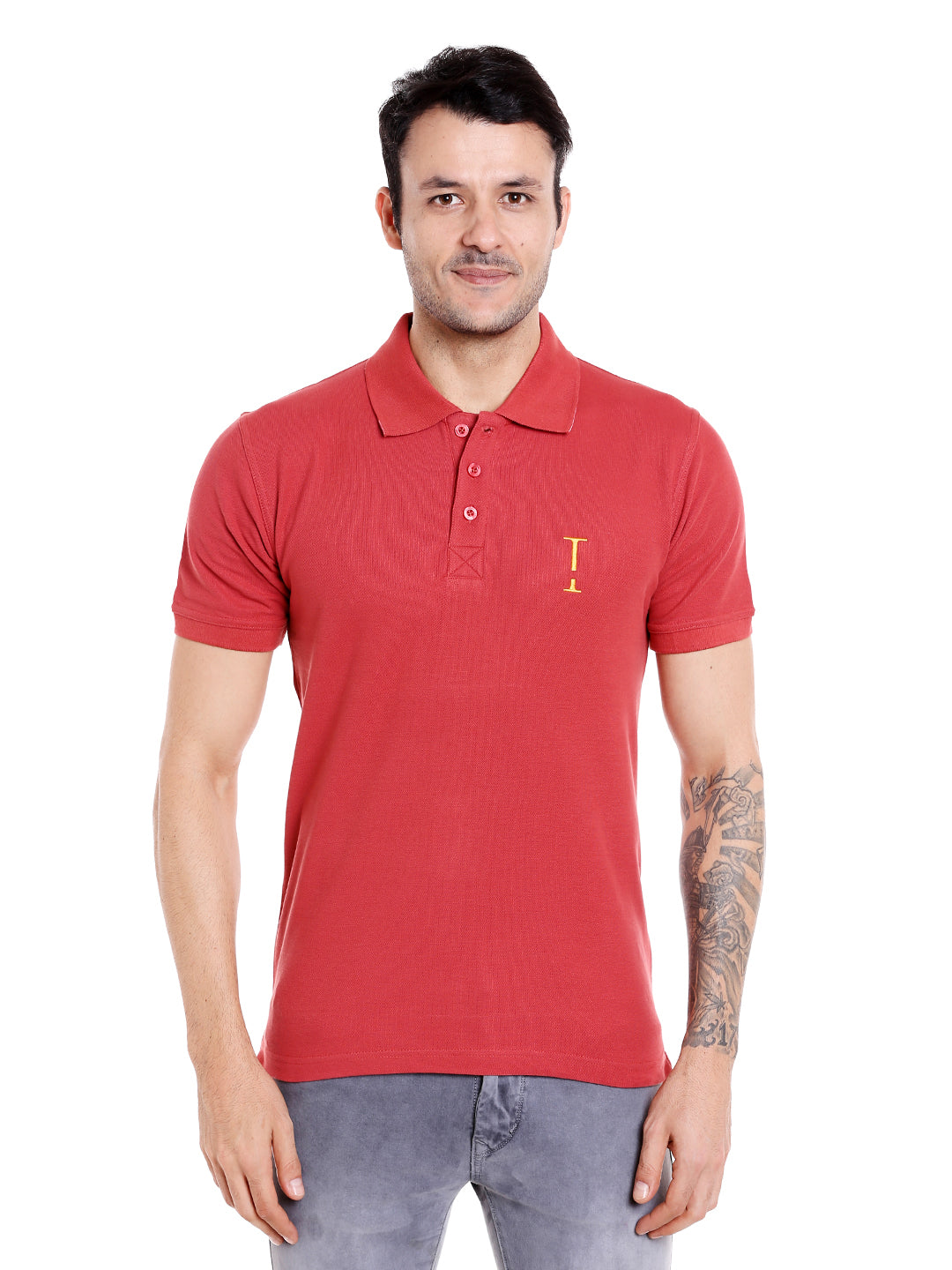 marsala maroon solid cotton polo t-shirt for men