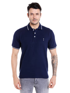 Dark navy blue solid cotton polo t-shirt with white tipping