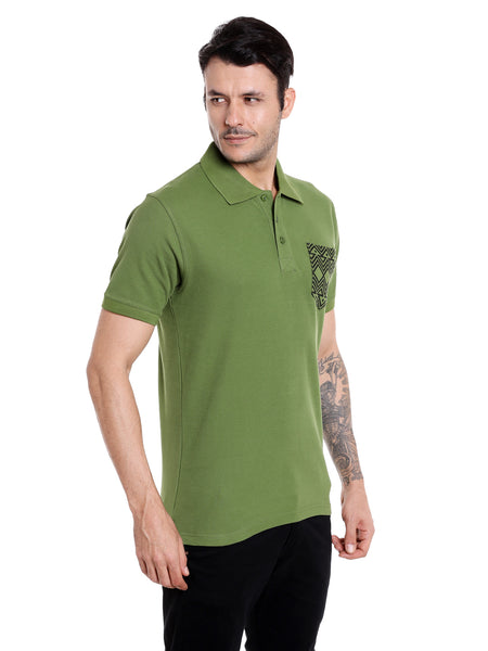 Kale Green Solid Polo