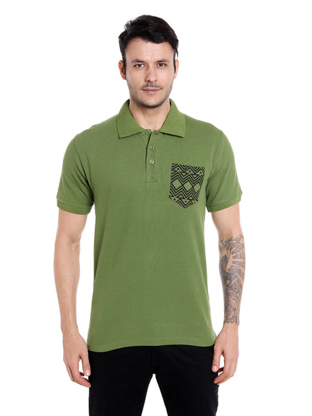 Kale green solid polo with tribal print pocket