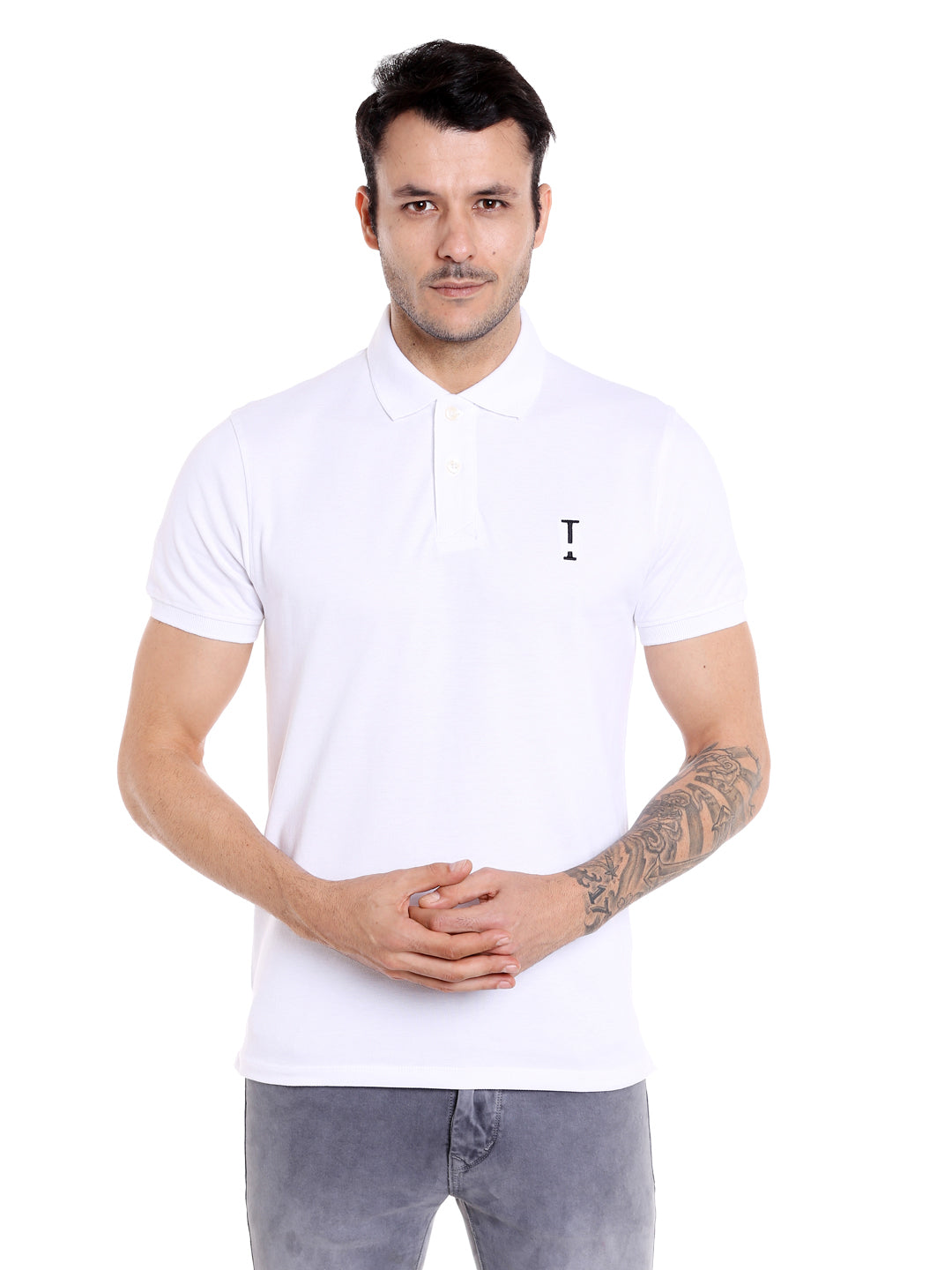 White solid cotton polo t-shirt for men