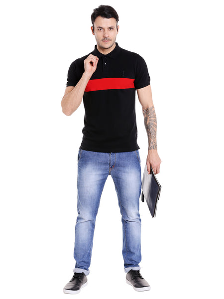 Black & Red Colourblocked Polo