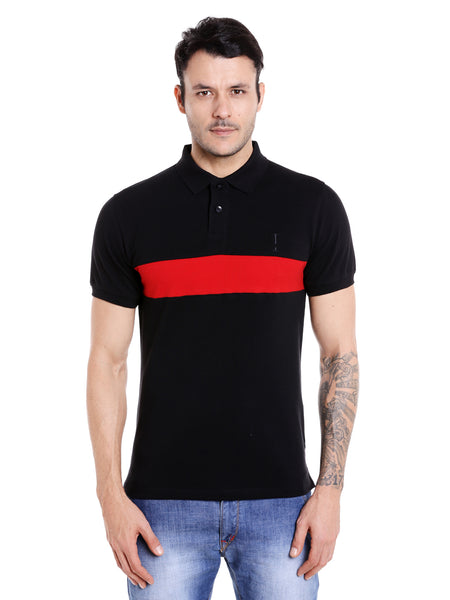 Black and red colourblocked cotton polo t-shirt