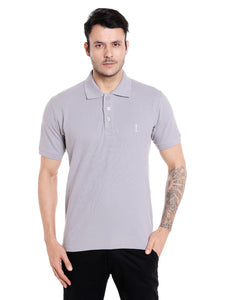 Grey cotton polo tshirt for men