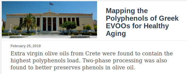Mapping the Polyphenols of Greek EVOOS for Healthy Aging